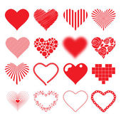 Different hearts icons set love passion valentines day design. — Stock Vector