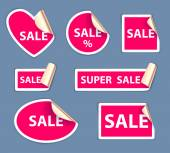 Set of sale stickers - golden foil reverse side. — Stock Vector