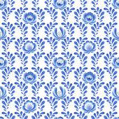 Blue flowers floral russian porcelain beautiful folk ornament. — Stock Vector