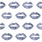 Silver woman lips seamless pattern. — Stock Vector