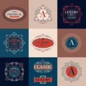 高級ロゴ テンプレート飾りラベル設定します。. — ストックベクタ