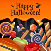 Halloween sweets colorful party background. — Stock Vector