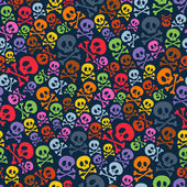 Cute colorful skulls and crossbones seamless pattern. — Stock Vector