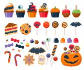 Halloween party colorful sweets  icons set vector illustration. — Stock Vector