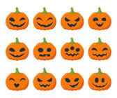 Halloween pumpkins set vector illustration. — Stock Vector