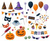 Halloween party colorful icons set vector illustration. — Stock Vector
