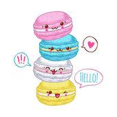 Group of four cute kawaii macarons. — Stock Vector