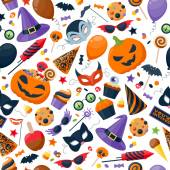 Halloween party colorful seamless pattern vector illustration. — Stock Vector