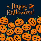Funny pumpkins halloween background with greetings. — Stock Vector