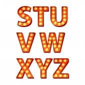 Orange bulbs lamps light glowing letters set. — Stock Vector