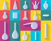 Kemiska kolvar som vektor illustration. — Stockvektor