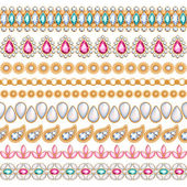 Colorful gemstones seamless horizontal borders set. — Stock Vector