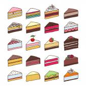 Colorful sweet cakes slices set vector illustration. — Stock Vector