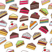 Colorful sweet cakes slices seamless pattern vector illustration. — Stock Vector