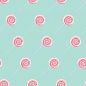 Pink cream lollipop spiral candies seamless background. — Stock Vector