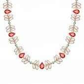 Gemstones and pearls chain golden necklace or bracelet. — Stock Vector