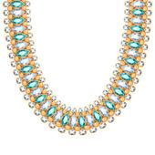 Gemstones chain golden necklace or bracelet. — Stock Vector