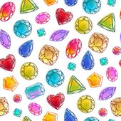 Seamless colorful hand drawn gemstones  pattern on white. — Stock Vector
