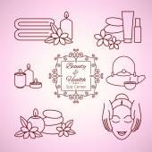 Spa beauty salon wellness center icons set. — Stock Vector