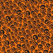 Cute black skulls and crossbones seamless pattern. — Stock Vector