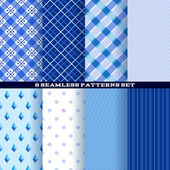 Blue abstract seamless patterns set. — Stock Vector