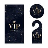 VIP uitnodigingskaart, waarschuwing hanger en badge. — Stockvector
