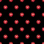 Red rubies on black seamless simple style pattern. — Stock Vector
