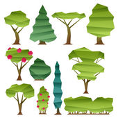 Abstract low poly style trees set. — Stock Vector
