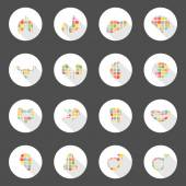 Body icons web long shadow design, can enable or disable shadows — Vector de stock