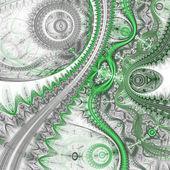 Green fractal clockwork pattern, digital artwork for creative graphic design — Stock Photo
