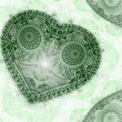 Clockwork green fractal heart, valentine's day motive, digital artwork for creative graphic design — Stock Photo #62039003