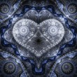 Clockwork blue fractal heart, valentine's day motive, digital artwork for creative graphic design — Stock Photo #62039013