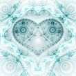 Clockwork blue fractal heart, valentine's day motive, digital artwork for creative graphic design — Stock Photo #62039025
