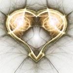 Gold fractal heart, valentine's day motive, digital artwork for creative graphic design — Stock Photo #62039621