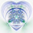 Green and blue fractal heart, valentine's day motive, digital artwork for creative graphic design — Stock Photo #62039737