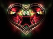 красно-зеленое рекурсивное сердце, повод дня святого валентина, цифровое произведение искусства для творческого графического дизайна — Стоковое фото