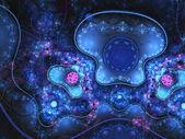 Dark blue clockwork fractal, digital artwork for creative graphic design — Stock Photo