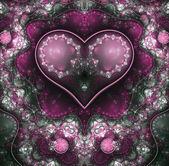 Purple clockwork fractal heart, valentine's day motive, digital artwork for creative graphic design — Stock fotografie