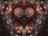 Red and silver clockwork fractal heart, valentine's day motive, digital artwork for creative graphic design — Stock fotografie