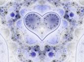 Blue clockwork fractal heart, valentine's day motive, digital artwork for creative graphic design — ストック写真