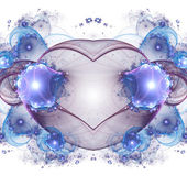 Glossy blue fractal heart, valentine's day motive, digital artwork for creative graphic design — Stock Photo