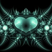 Dark fractal heart, valentine's day motive, digital artwork for creative graphic design — Stock Photo