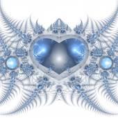 Blue фрактальной сердца, Валентина мотив, цифровые изображения для творческого графического дизайна — Стоковое фото