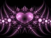 Dark fractal heart, valentine's day motive, digital artwork for creative graphic design — Stock fotografie