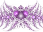 Purple fractal heart, valentine's day motive, digital artwork for creative graphic design — Stok fotoğraf