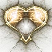 золотое рекурсивное сердце, повод дня святого валентина, цифровое произведение искусства для творческого графического дизайна — Стоковое фото