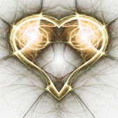 Gold fractal heart, valentine's day motive, digital artwork for creative graphic design — Zdjęcie stockowe