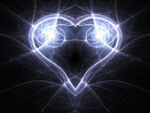 Glossy blue fractal heart, valentine's day motive, digital artwork for creative graphic design — Stock Photo