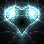 Glossy blue fractal heart, valentine's day motive, digital artwork for creative graphic design — Stock fotografie