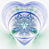 Green and blue fractal heart, valentine's day motive, digital artwork for creative graphic design — Stock Photo